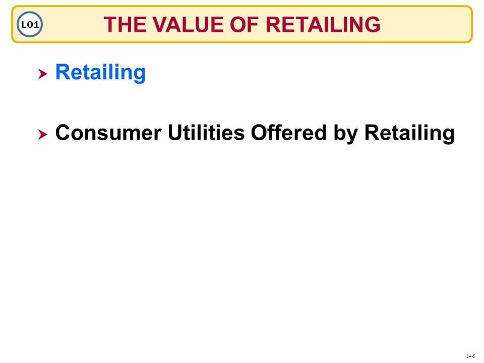 THE VALUE OF RETAILING LO1  Retailing Retailing  Consumer Utilities Offered by Retailing 14-5