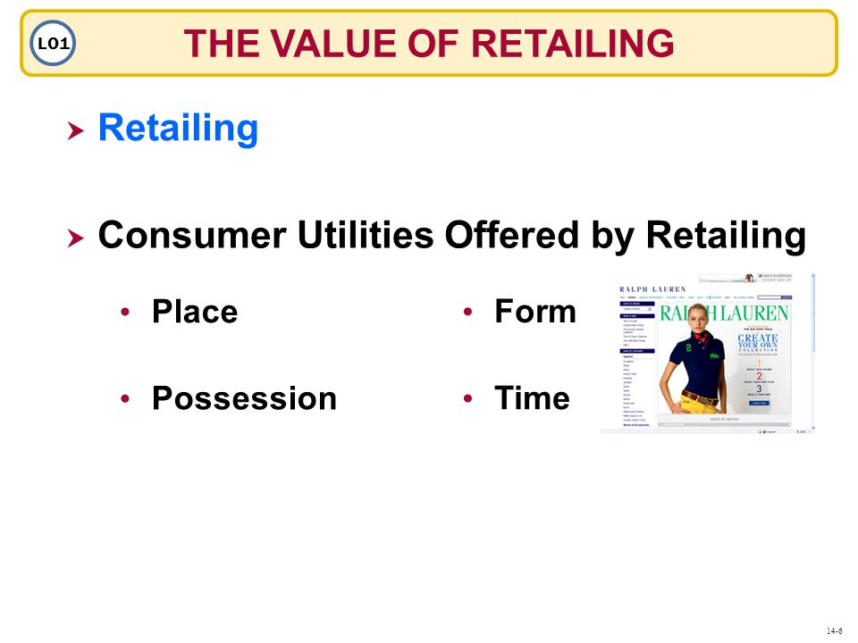 THE VALUE OF RETAILING LO1  Retailing Retailing  Consumer Utilities Offered by Retailing Place Possession Form Time 14-6