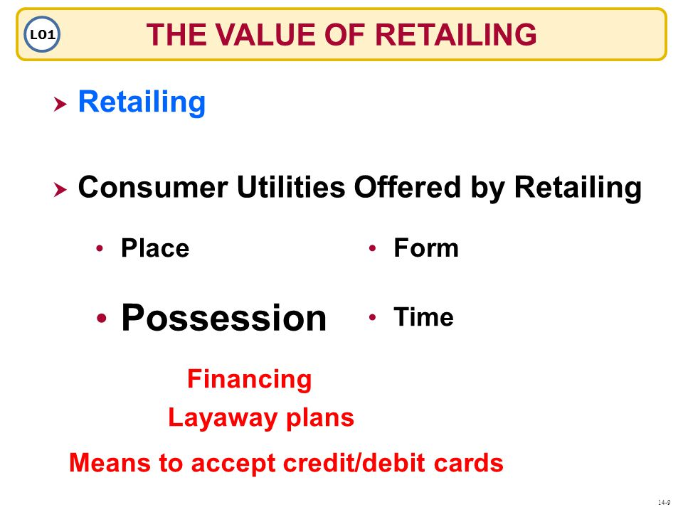 THE VALUE OF RETAILING LO1  Retailing Retailing  Consumer Utilities Offered by Retailing Place Possession Form Time 14-9 Financing Layaway plans Means to accept credit/debit cards