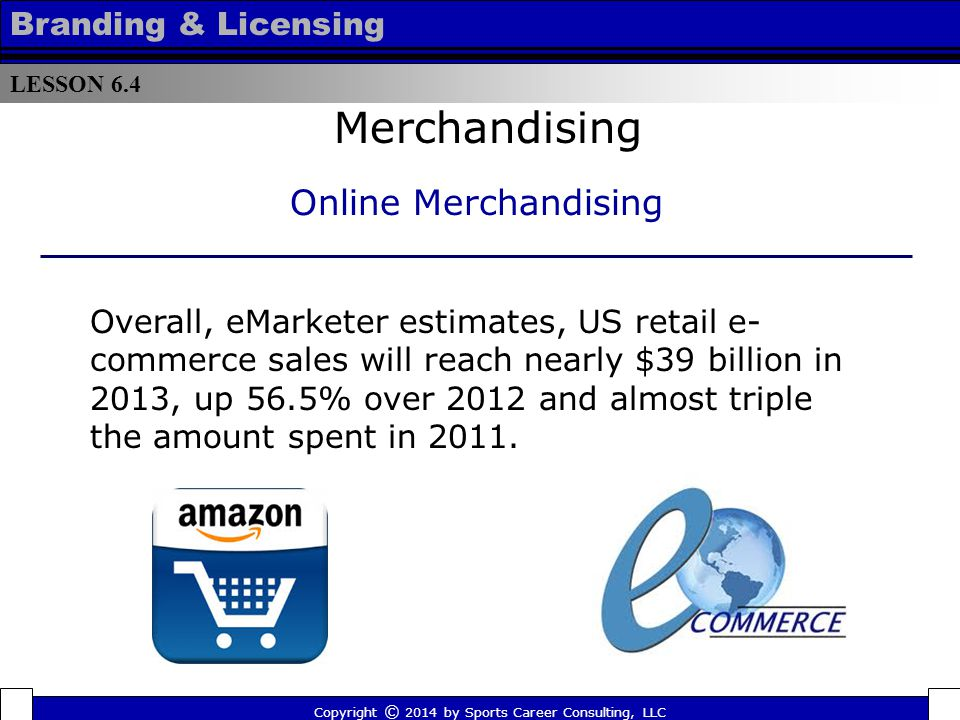 Online Distribution Methods Merchandising LESSON 6.4 Branding & Licensing Copyright © 2014 by Sports Career Consulting, LLC  Direct shipping to consumer  In-store pickup