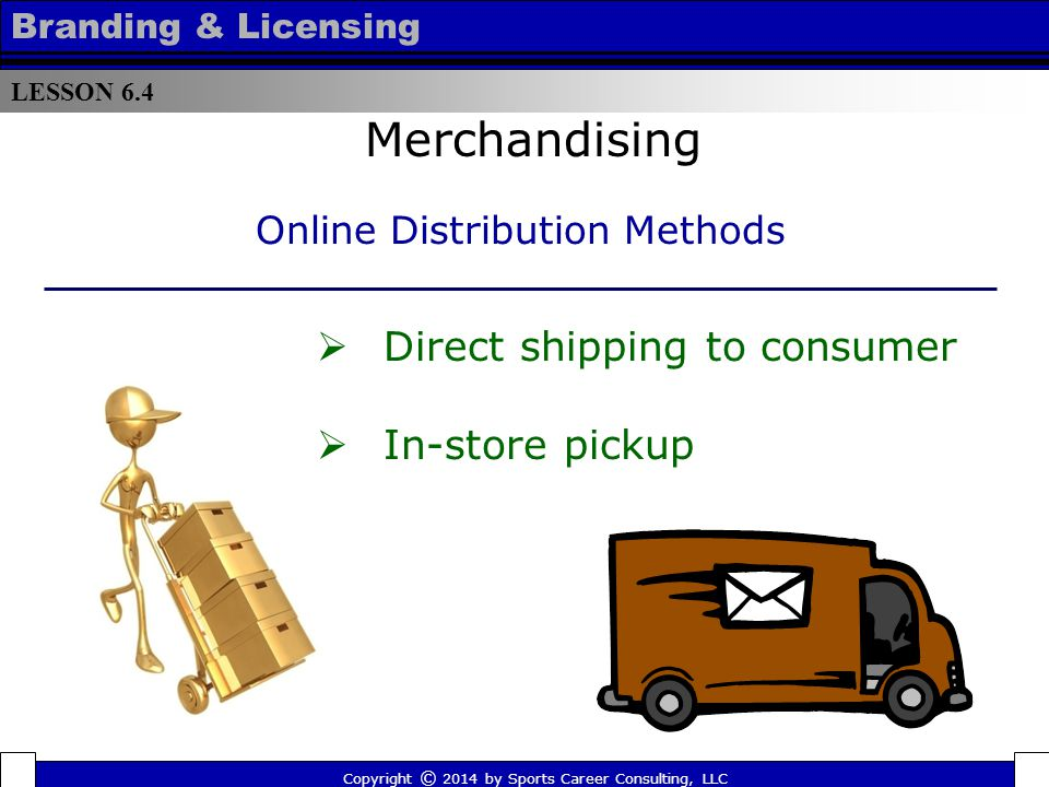 Online Advantages Merchandising  Easier to control inventory  Opportunity to offer exclusive merchandise  Opportunities to reach out-of-market consumers LESSON 6.4 Branding & Licensing Copyright © 2014 by Sports Career Consulting, LLC
