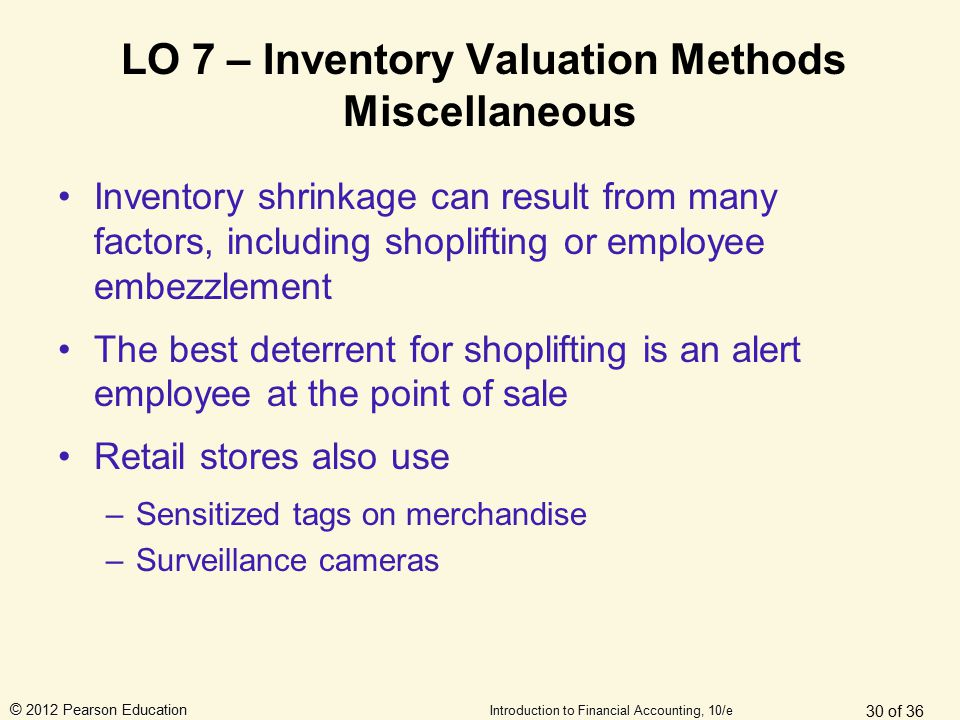 © 2012 Pearson Education Introduction to Financial Accounting, 10/e LO 7 – Inventory Valuation Methods Miscellaneous Inventory shrinkage can result fr