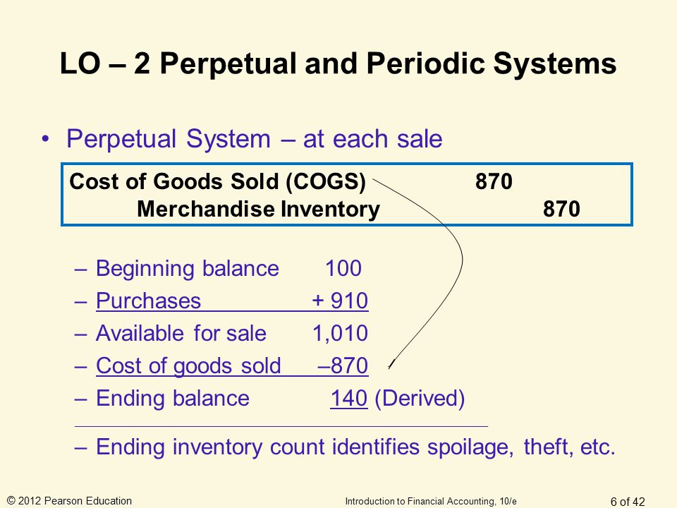 © 2012 Pearson Education Introduction to Financial Accounting, 10/e LO – 2 Perpetual and Periodic Systems Perpetual System – at each sale –Beginning b