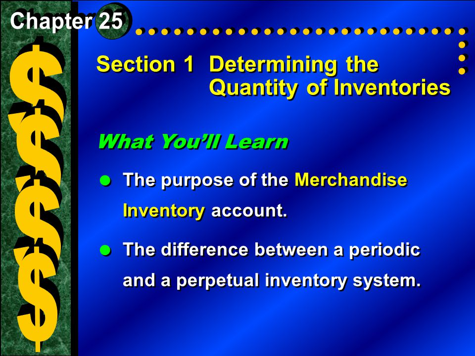 Section 1Determining the Quantity of Inventories What You'll Learn  The purpose of the Merchandise Inventory account.