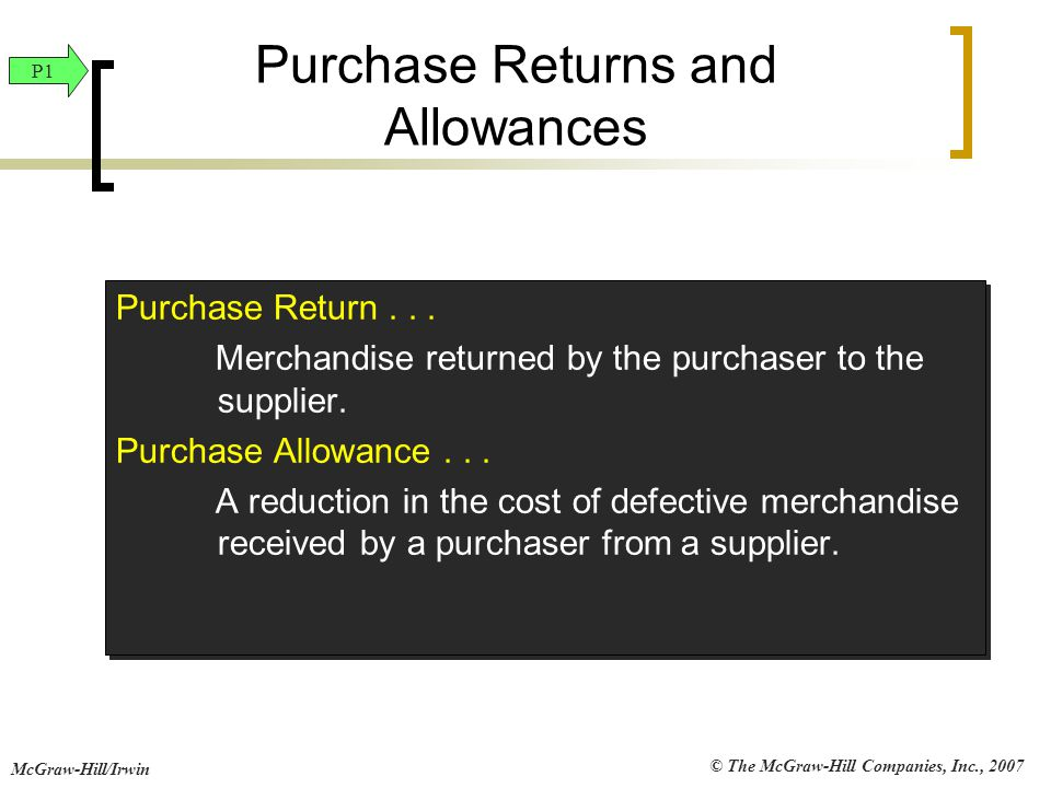 © The McGraw-Hill Companies, Inc., 2007 McGraw-Hill/Irwin Purchase Returns and Allowances Purchase Return... Merchandise returned by the purchaser to