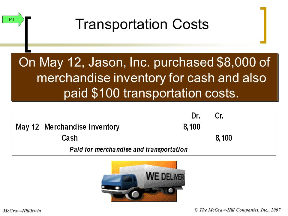 © The McGraw-Hill Companies, Inc., 2007 McGraw-Hill/Irwin Transportation Costs On May 12, Jason, Inc. purchased $8,000 of merchandise inventory for ca