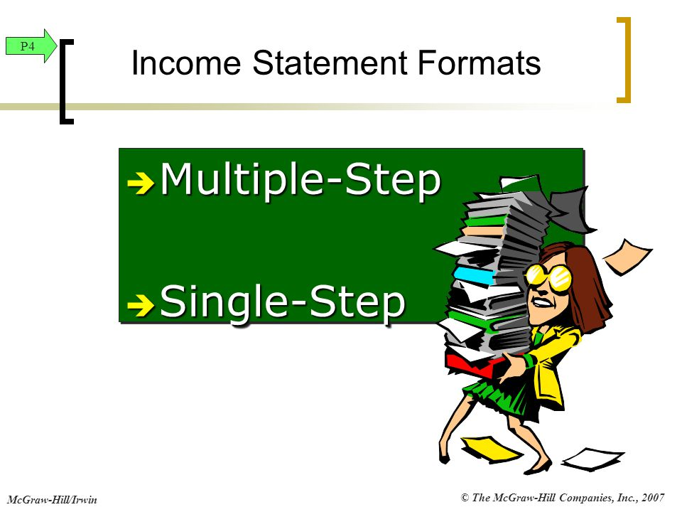 © The McGraw-Hill Companies, Inc., 2007 McGraw-Hill/Irwin Income Statement Formats  Multiple-Step  Single-Step  Multiple-Step  Single-Step P4