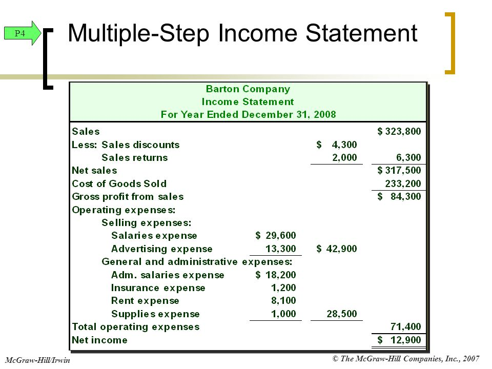 © The McGraw-Hill Companies, Inc., 2007 McGraw-Hill/Irwin Multiple-Step Income Statement P4