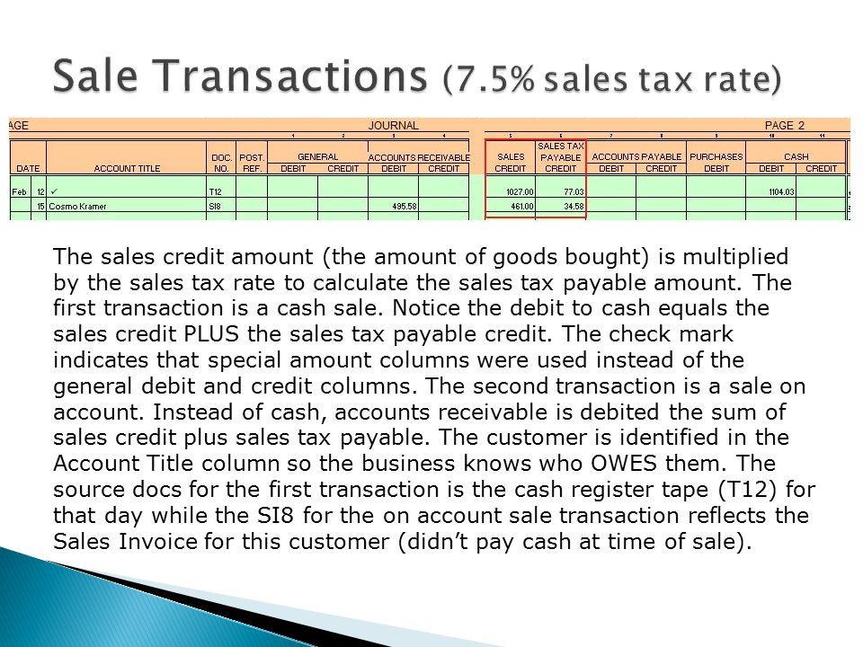 The sales credit amount (the amount of goods bought) is multiplied by the sales tax rate to calculate the sales tax payable amount.