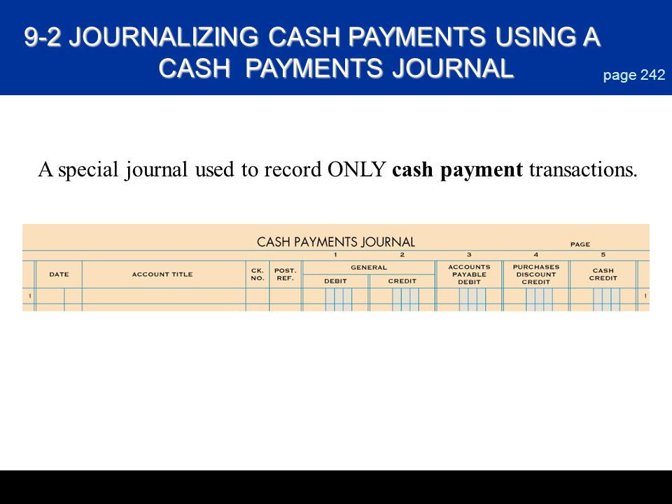 page 242 A special journal used to record ONLY cash payment transactions. 9-2 JOURNALIZING CASH PAYMENTS USING A CASH PAYMENTS JOURNAL