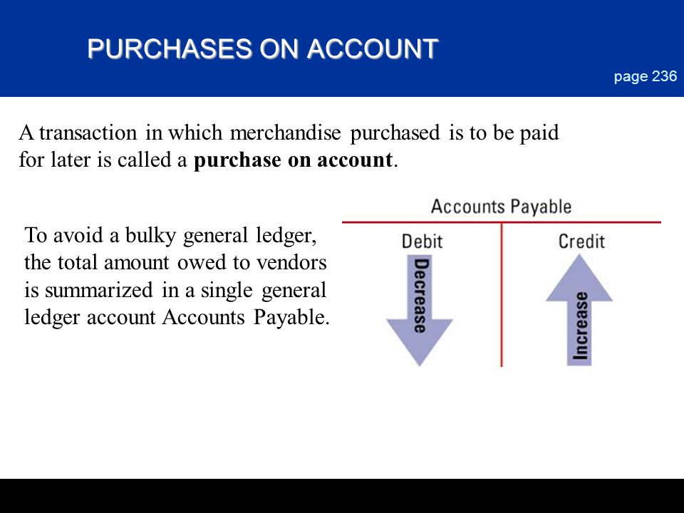 PURCHASES ON ACCOUNT page 236 A transaction in which merchandise purchased is to be paid for later is called a purchase on account. To avoid a bulky g