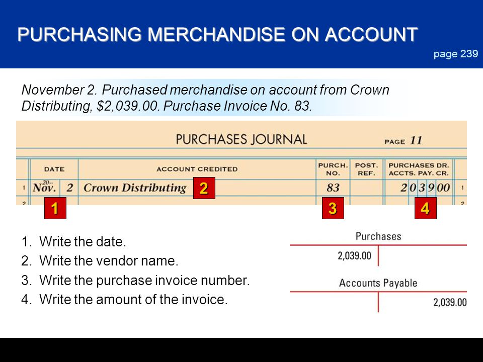 PURCHASING MERCHANDISE ON ACCOUNT 1 2 34 page 239 November 2. Purchased merchandise on account from Crown Distributing, $2,039.00. Purchase Invoice No