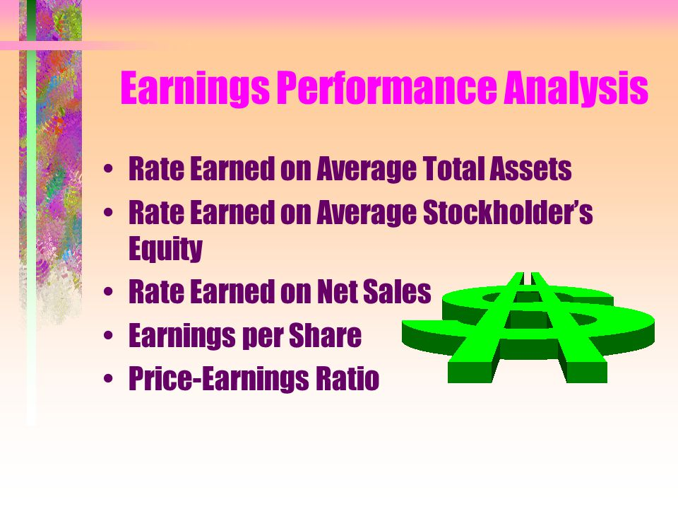 Earnings Performance Analysis Rate Earned on Average Total Assets Rate Earned on Average Stockholder's Equity Rate Earned on Net Sales Earnings per Share Price-Earnings Ratio