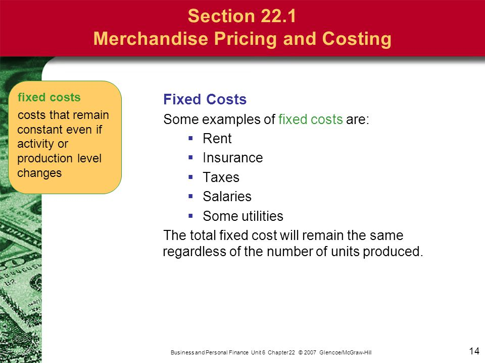 14 Business and Personal Finance Unit 6 Chapter 22 © 2007 Glencoe/McGraw-Hill Fixed Costs Some examples of fixed costs are:  Rent  Insurance  Taxes