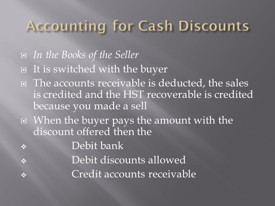  In the Books of the Seller  It is switched with the buyer  The accounts receivable is deducted, the sales is credited and the HST recoverable is c