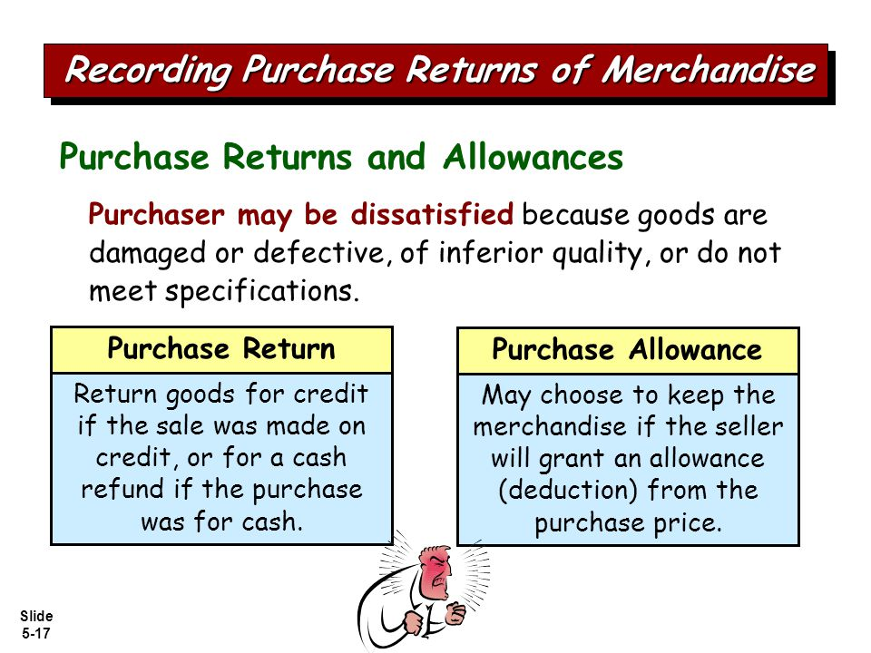 Slide 5-17 Purchaser may be dissatisfied because goods are damaged or defective, of inferior quality, or do not meet specifications.
