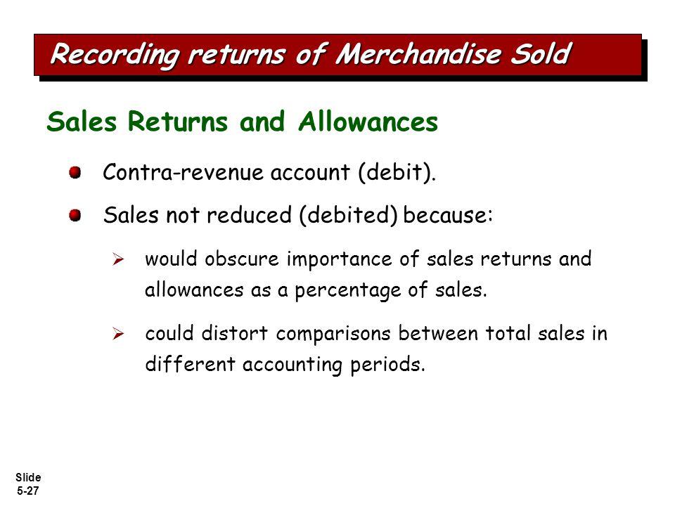 Slide 5-27 Contra-revenue account (debit).