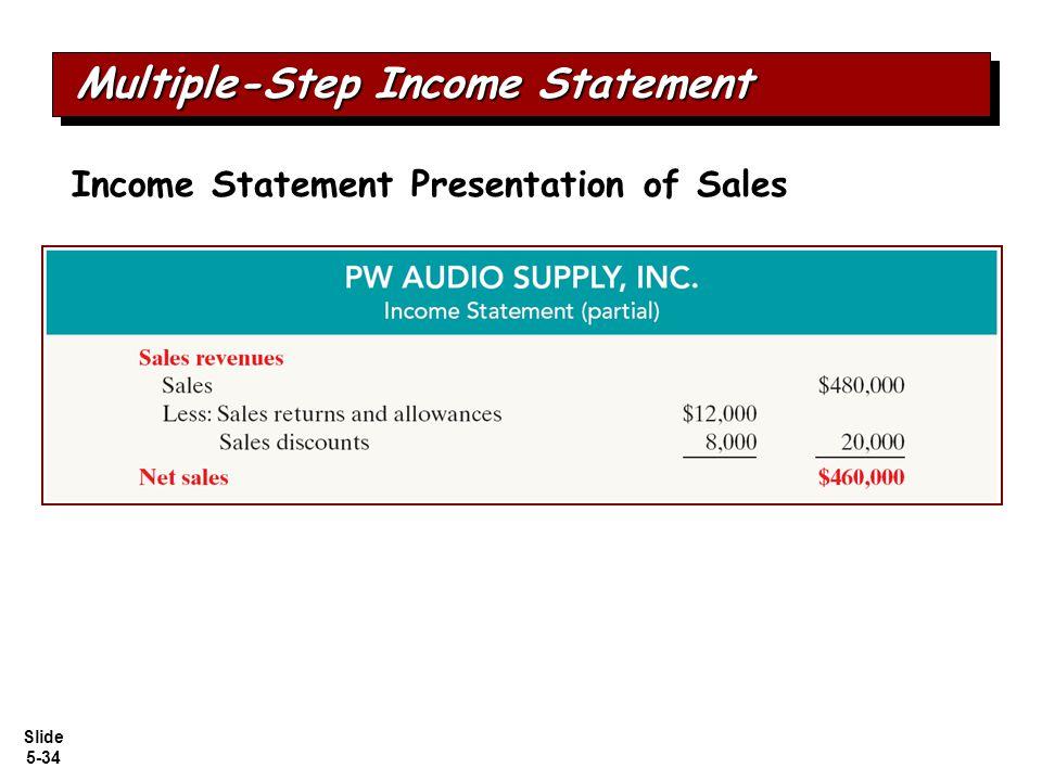 Slide 5-34 Income Statement Presentation of Sales Multiple-Step Income Statement