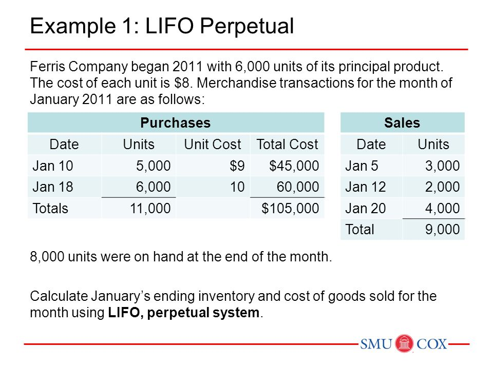 Example 1: LIFO Perpetual Ferris Company began 2011 with 6,000 units of its principal product. The cost of each unit is $8. Merchandise transactions f