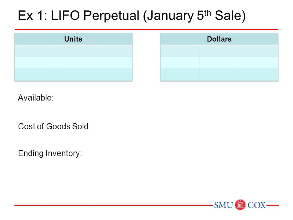 Ex 1: LIFO Perpetual (January 5 th Sale) Available: Ending Inventory: Cost of Goods Sold: