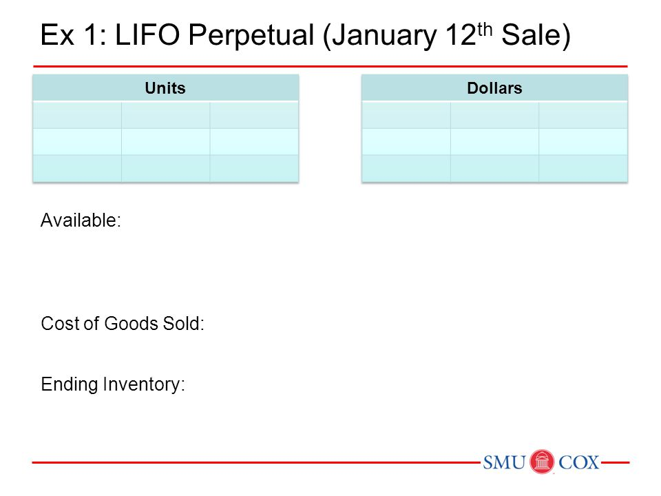 Ex 1: LIFO Perpetual (January 12 th Sale) Available: Ending Inventory: Cost of Goods Sold:
