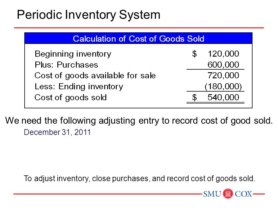 Periodic Inventory System We need the following adjusting entry to record cost of good sold. December 31, 2011 To adjust inventory, close purchases, a