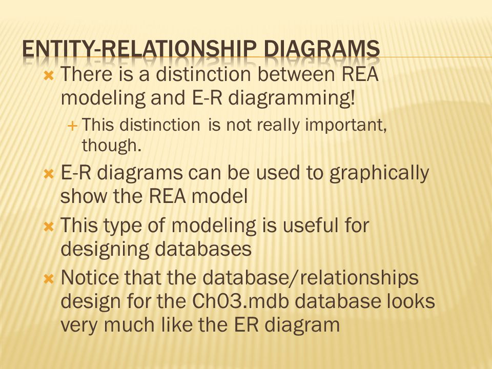  There is a distinction between REA modeling and E-R diagramming.