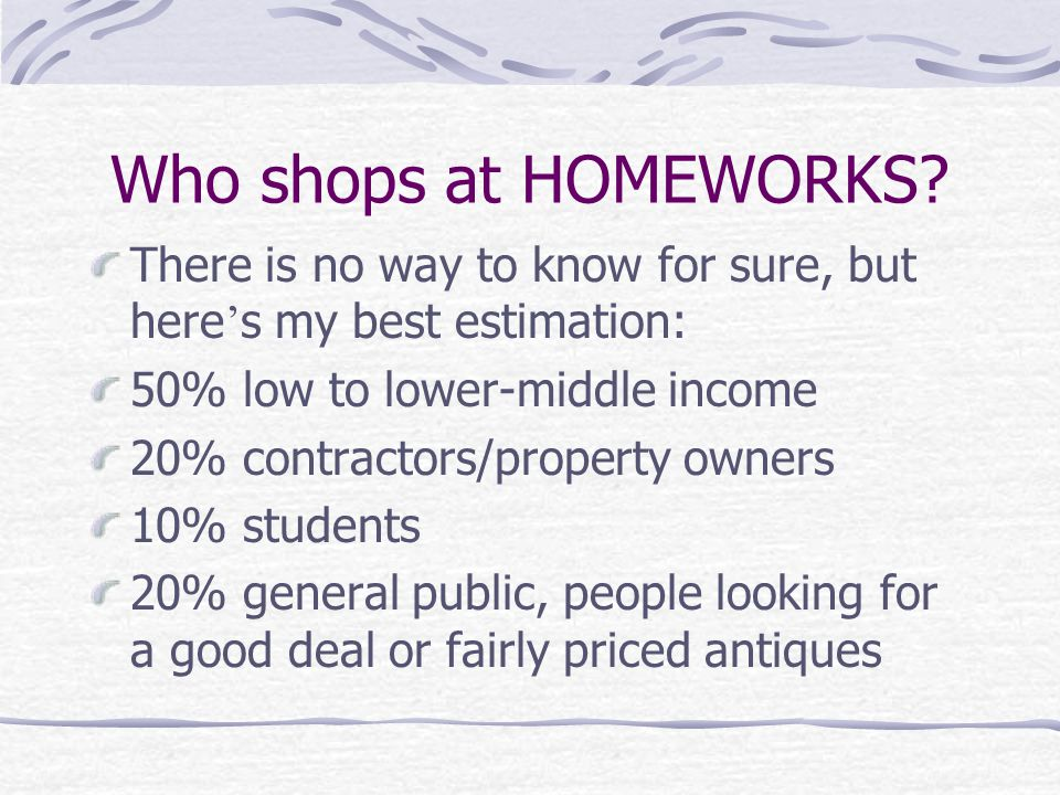 Who shops at HOMEWORKS.