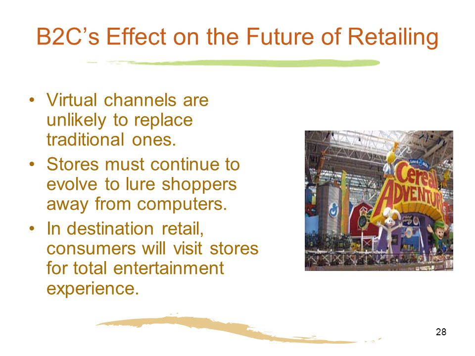 28 B2C's Effect on the Future of Retailing Virtual channels are unlikely to replace traditional ones. Stores must continue to evolve to lure shoppers