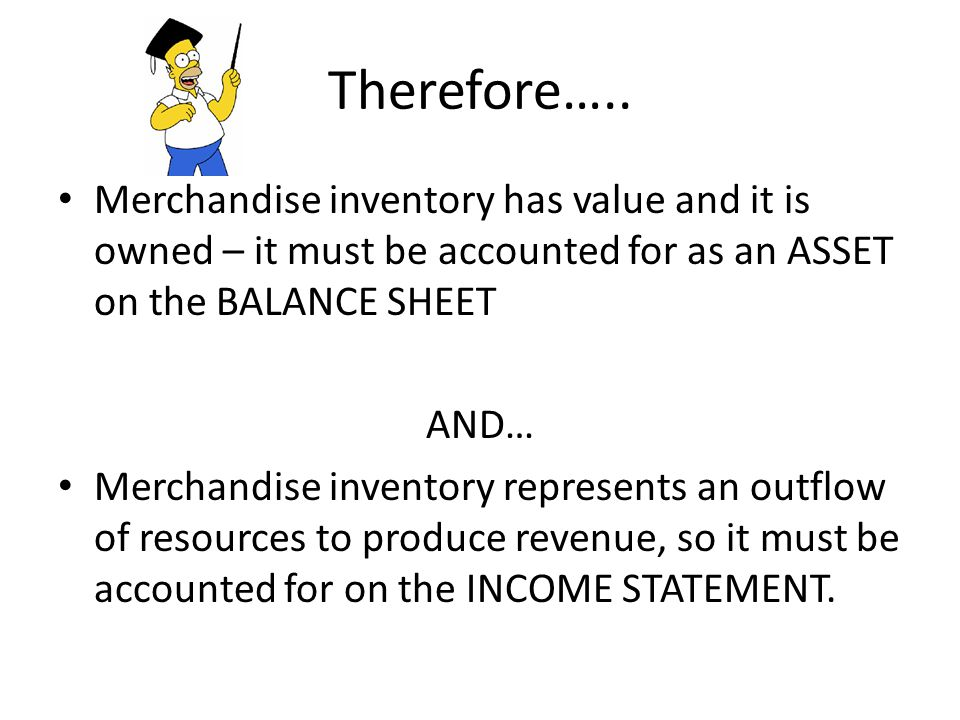 Inventory Beginning Inventory +Merchandise Purchased =Total goods available for sale -Merchandise Sold =Ending Inventory The inventory figure here will go on the balance sheet as a current asset.