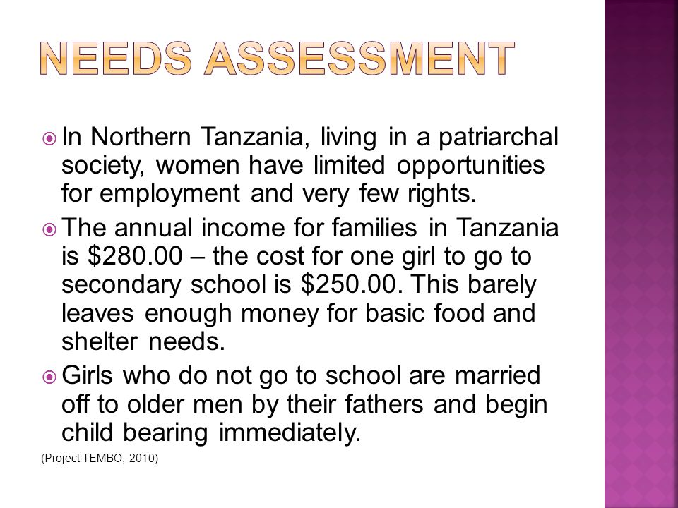  In Northern Tanzania, living in a patriarchal society, women have limited opportunities for employment and very few rights.  The annual income for