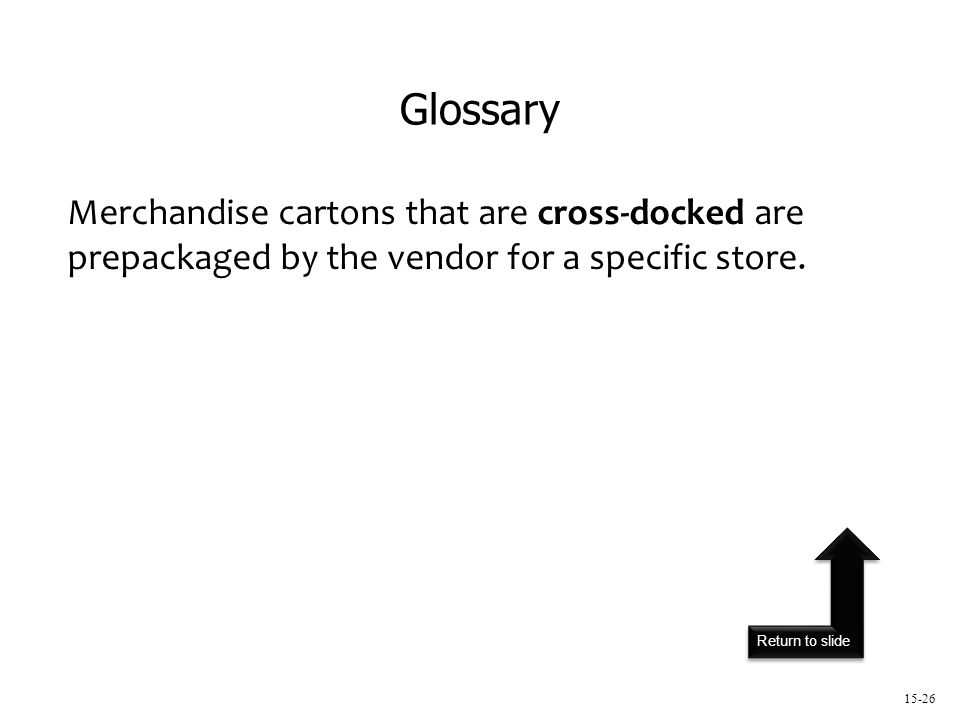 Return to slide 15-26 Merchandise cartons that are cross-docked are prepackaged by the vendor for a specific store.