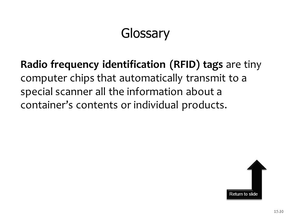 Return to slide 15-30 Radio frequency identification (RFID) tags are tiny computer chips that automatically transmit to a special scanner all the information about a container's contents or individual products.