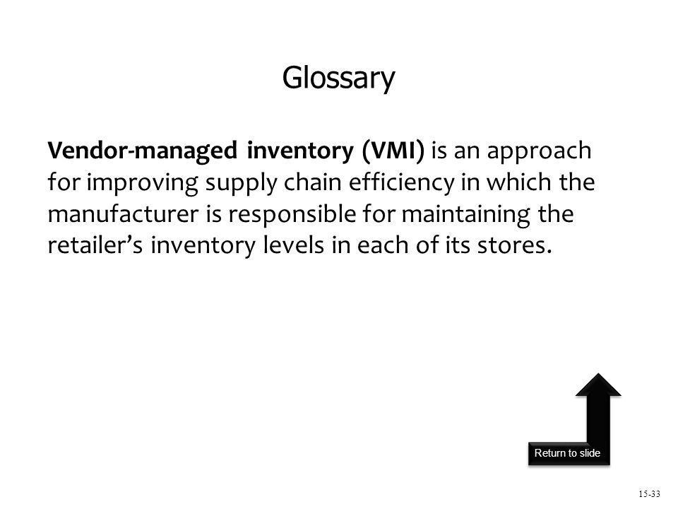 Return to slide 15-33 Vendor-managed inventory (VMI) is an approach for improving supply chain efficiency in which the manufacturer is responsible for maintaining the retailer's inventory levels in each of its stores.