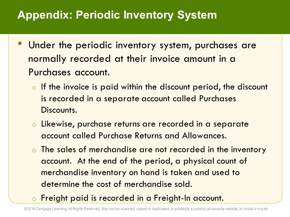 Appendix: Closing Entries Under the Periodic Inventory System The four closing entries under the periodic inventory system are as follows: 1.
