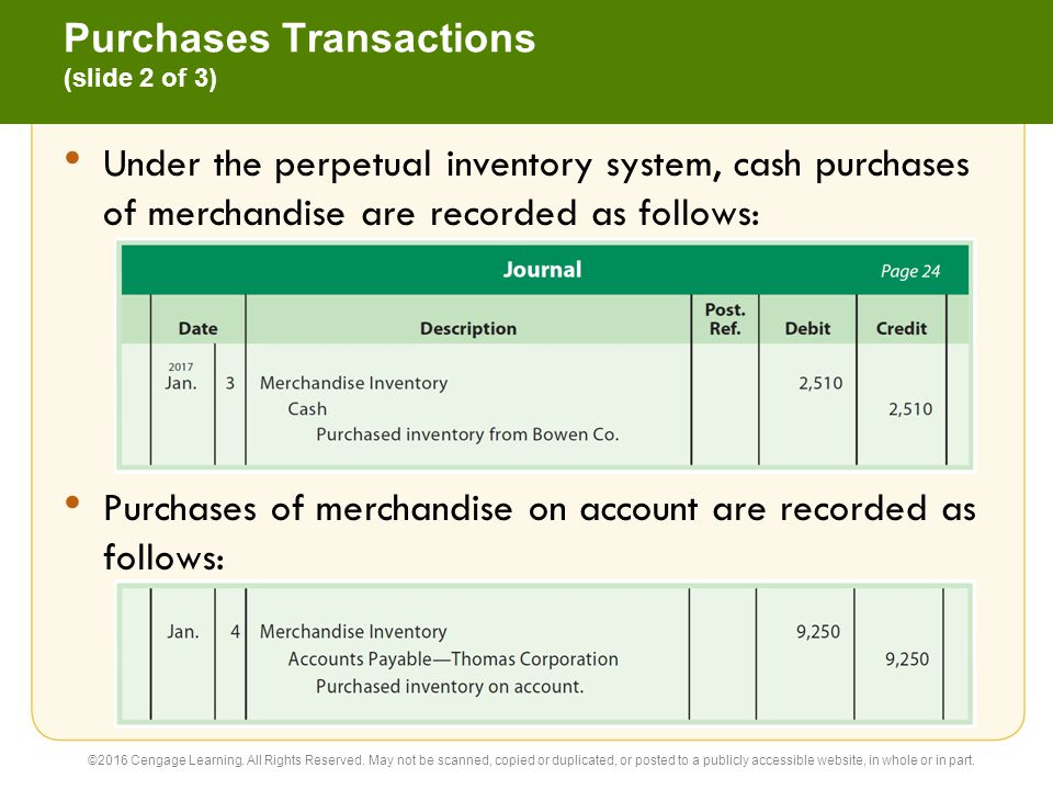 Purchases Transactions (slide 3 of 3) The terms of purchases on account are normally indicated on the invoice or bill that the seller sends the buyer.