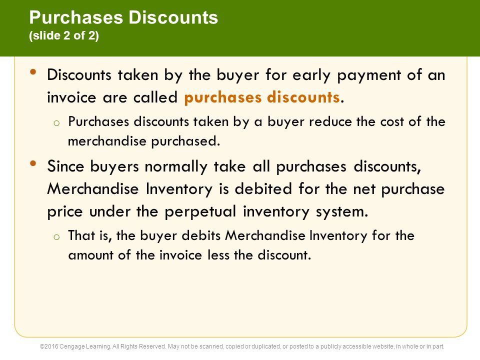 Purchases Returns and Allowances (slide 1 of 2) A buyer may request an allowance for merchandise that is returned (purchases return) or a price allowance (purchases allowance) for damaged or defective merchandise.