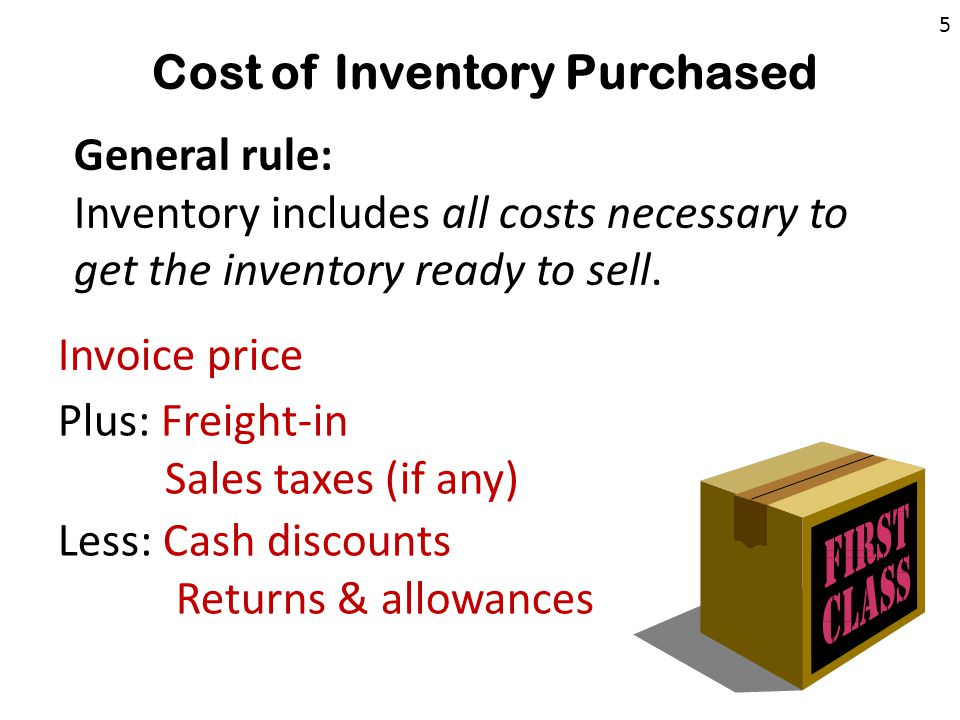 Cost of Inventory Purchased Invoice price Less: Cash discounts Returns & allowances Plus: Freight-in Sales taxes (if any) General rule: Inventory includes all costs necessary to get the inventory ready to sell.