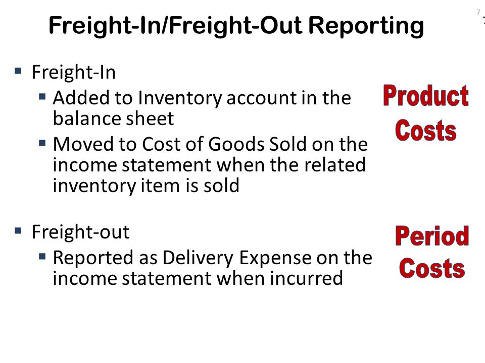7 Freight-In/Freight-Out Reporting  Freight-In  Added to Inventory account in the balance sheet  Moved to Cost of Goods Sold on the income statemen