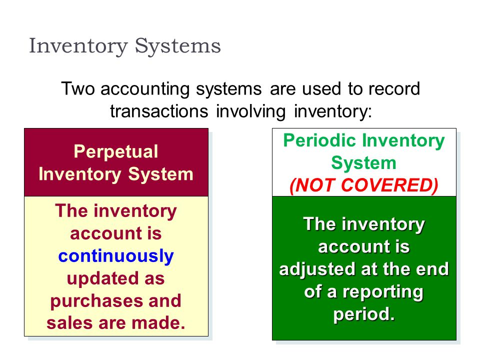 Inventory Systems Perpetual Inventory System The inventory account is continuously updated as purchases and sales are made. Periodic Inventory System