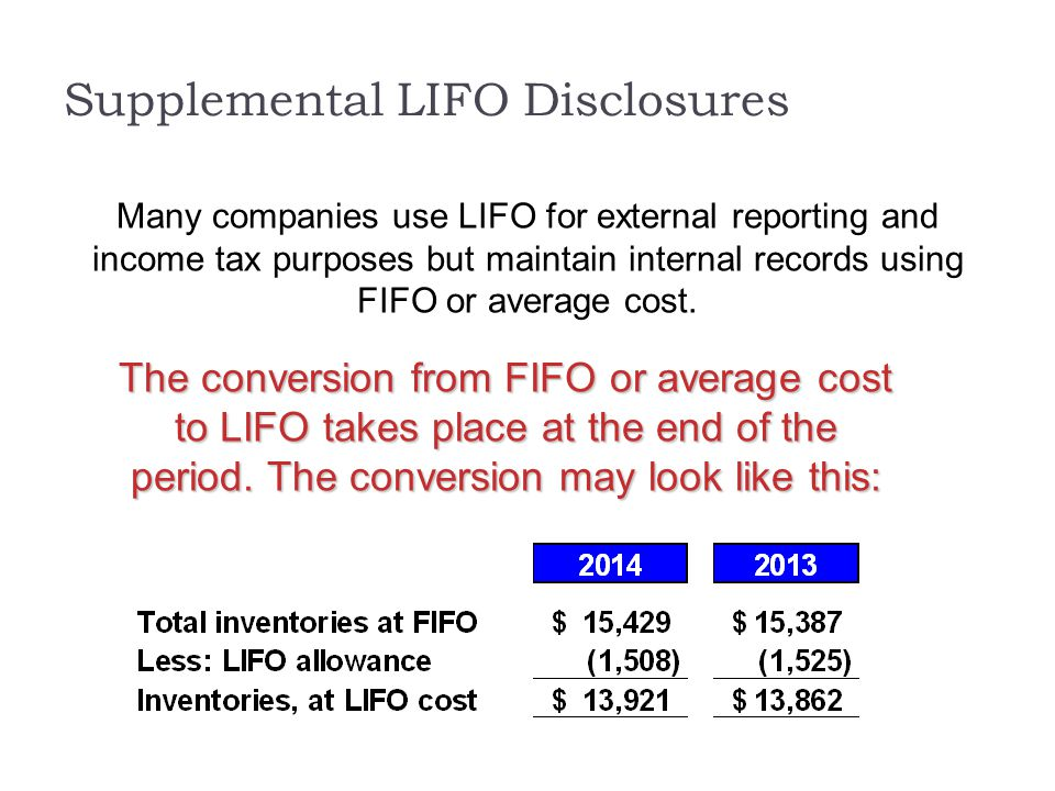 Supplemental LIFO Disclosures Many companies use LIFO for external reporting and income tax purposes but maintain internal records using FIFO or avera