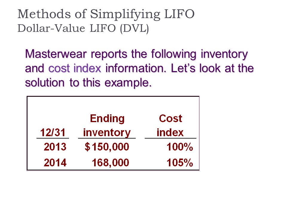 Methods of Simplifying LIFO Dollar-Value LIFO (DVL) Masterwear reports the following inventory and cost index information. Let's look at the solution