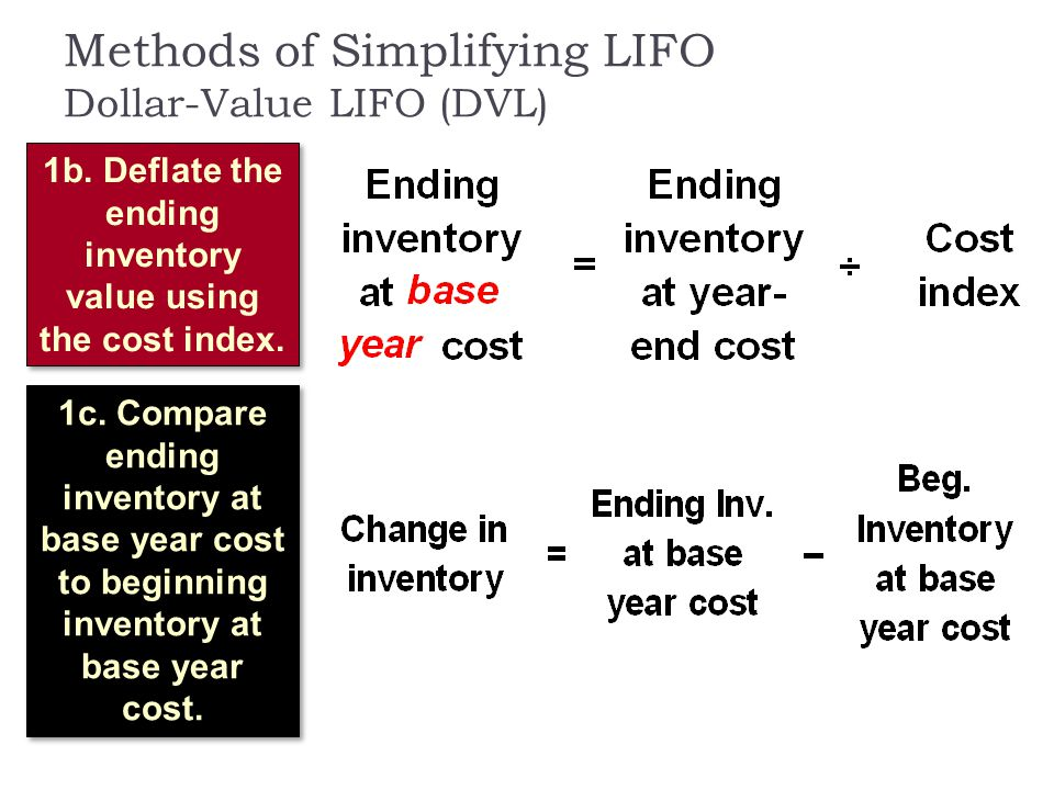 Methods of Simplifying LIFO Dollar-Value LIFO (DVL) 1b. Deflate the ending inventory value using the cost index. 1c. Compare ending inventory at base