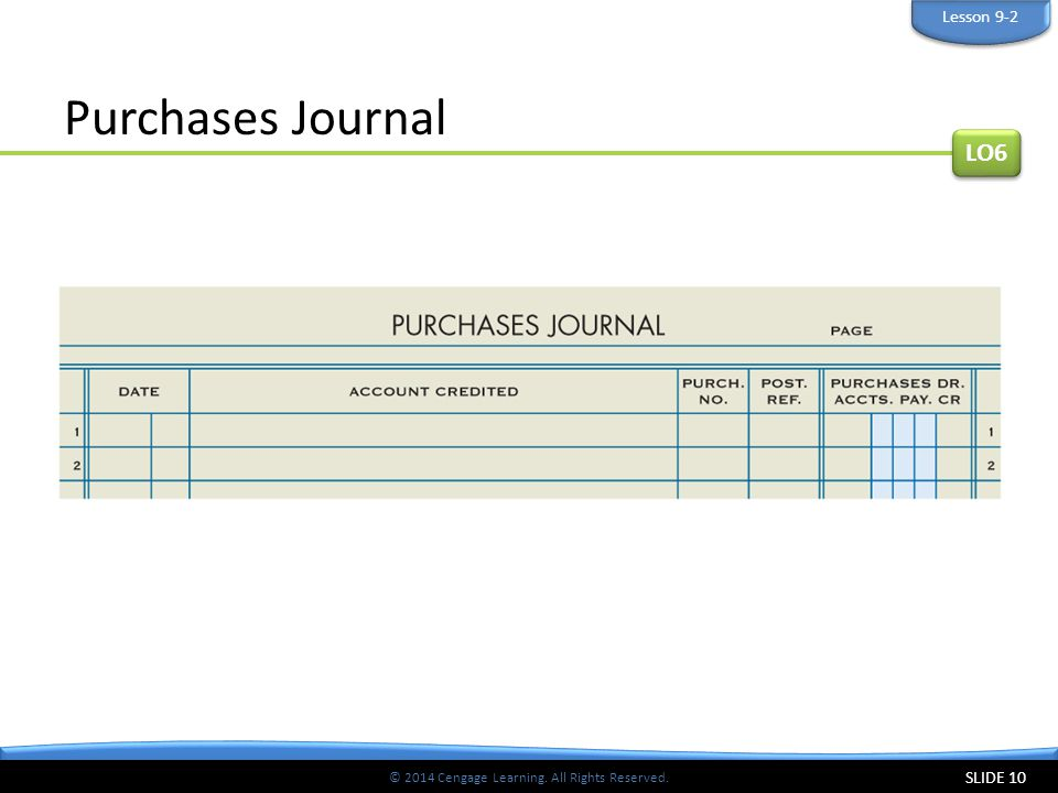 © 2014 Cengage Learning. All Rights Reserved. Purchases Journal SLIDE 10 LO6 Lesson 9-2