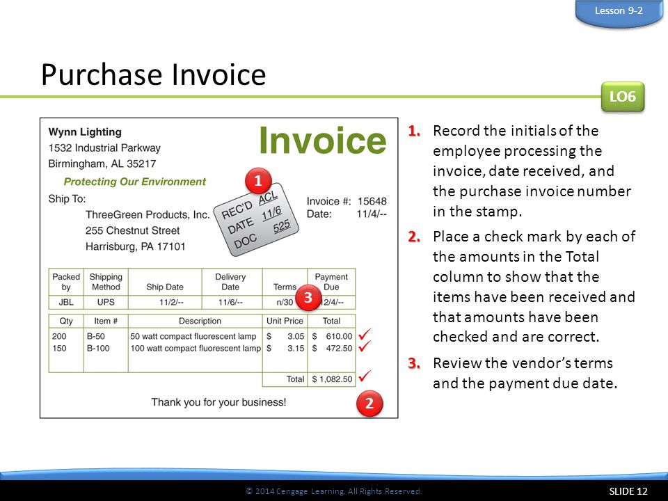 © 2014 Cengage Learning. All Rights Reserved. Purchase Invoice SLIDE 12 1.