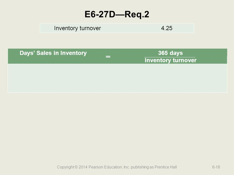 Copyright © 2014 Pearson Education, Inc. publishing as Prentice Hall6-18 E6-27D—Req.2 Inventory turnover4.25 Days' Sales in Inventory ═ 365 days Inven