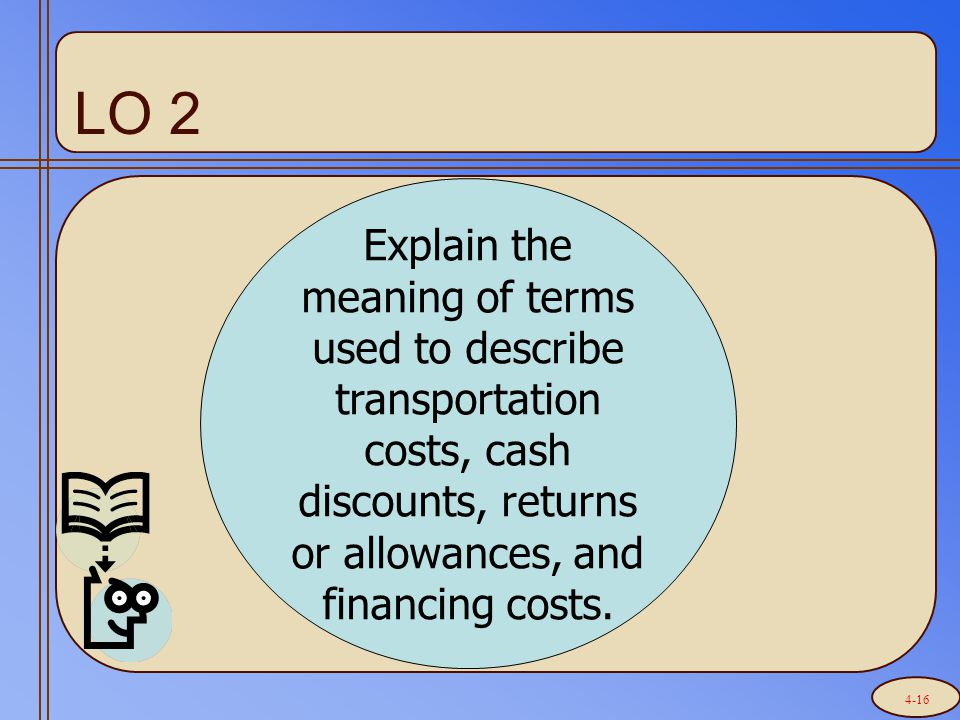 LO 2 Explain the meaning of terms used to describe transportation costs, cash discounts, returns or allowances, and financing costs. 4-16