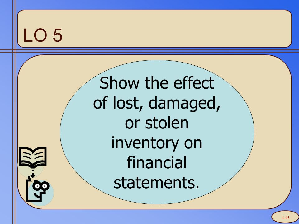 LO 5 Show the effect of lost, damaged, or stolen inventory on financial statements. 4-43