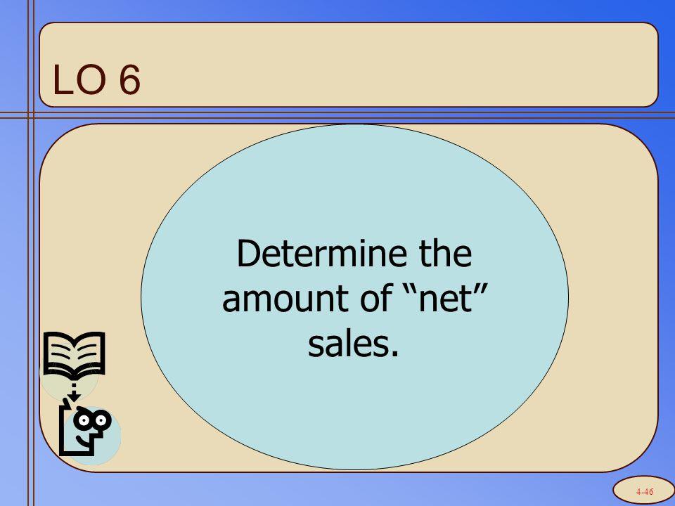 "LO 6 Determine the amount of ""net"" sales. 4-46"