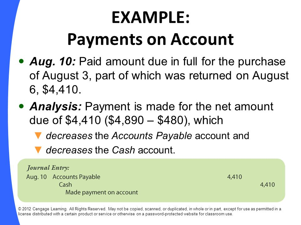 Recording Purchase Transactions Under the Perpetual Inventory System © 2012 Cengage Learning.